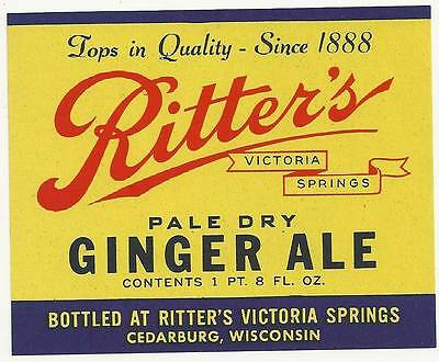 Ritter's Victoria Springs Pale Dry Ginger Ale Soda Label  Cedarburg Wisconsin