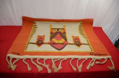Wool Handwoven Owl Rug Wall Hanging Tapestry Mexico Southwestern Textile 1255