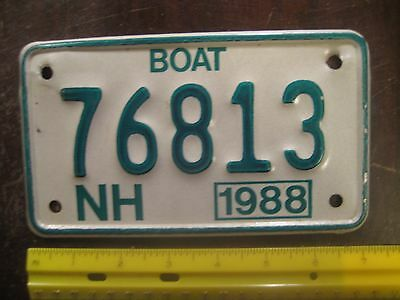 License Plate, New Hampshire, Motorcycle-Sized, Boat, 1988, 76813