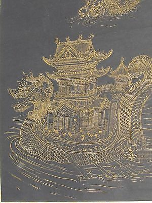 Antique Chinese Asian Hanging Scroll Dragon ship