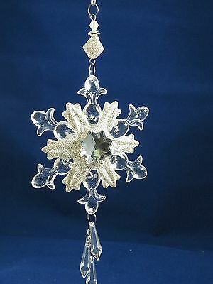 Clear Glittered Snowflake with Beaded Dangle Christmas Tree Ornament new holiday