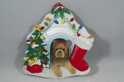 Yorkshire Terrier in Decorated Dog House Christmas Tree Ornament new
