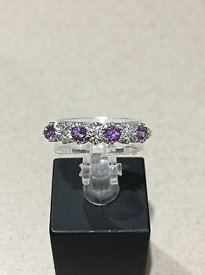 9 Ct Gold Amethyst And Diamond Half Eternity Ring 1/2 Et
