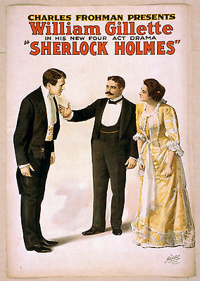 Photo Printed Old Poster: Stage Theatre Flyer Sherlock Holmes William Gillette 0