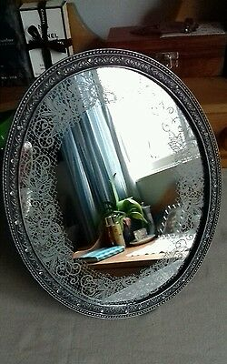 Modern Chic Freestanding Oval Mirror with Metal Frame, Diamanté & Lace  design