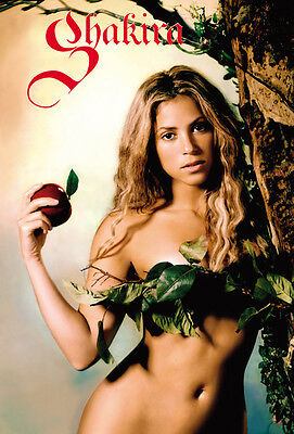 """SHAKIRA """"HOLDING APPLE"""" POSTER FROM ASIA -Oral Fixation Artwork, Latin Pop Music"""