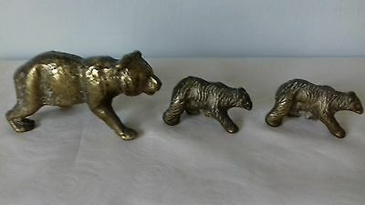 Vintage Brass Polar Bear and Two Cubs