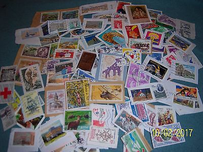 25g USED FRENCH STAMPS (5)