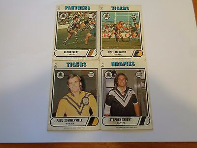 """4 X Mixed Lot Of 1976 Scanlens Rugby League Cards-Free Post"""