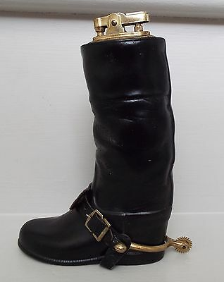 Vintage Ceramic Riding Hunting Boot Table Lighter Equestrian