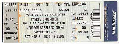 Rare CARRIE UNDERWOOD 11/6/10 Manchester NH Concert Ticket!