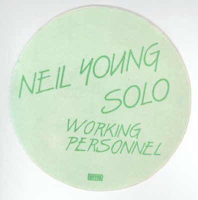 ORIGINAL Neil Young 1983 Solo Trans Tour WORKING PERSONNEL Backstage Pass! Green