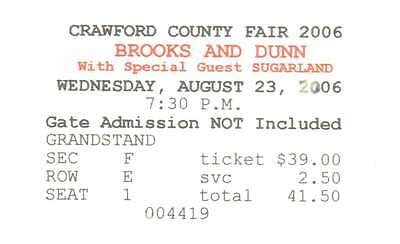 Brooks And Dunn 8/23/06 Meadville PA Crawford Cty Fair Concert Ticket Stub! &