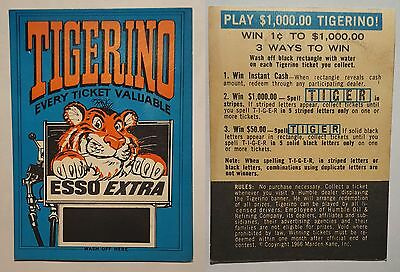 1966 Esso Extra Tigerino Unused Unscratched $1,000,000 Contest Game Card Ticket!