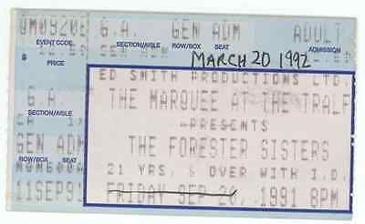The Forester Sisters 3/20/92 Buffalo NY Tralfamadore Cafe Concert Ticket Stub!