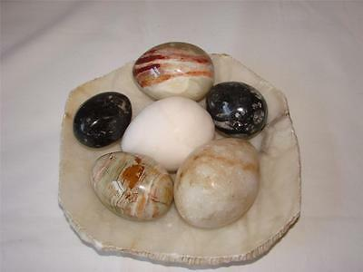 6 Marble/onyx Eggs And Dish