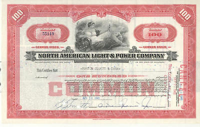 North American Light & Power Company 100 Shares Red Stock Certif Aktie Rot 1946
