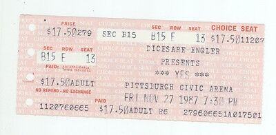 Rare YES the band 11/27/87 Pittsburgh PA Concert Ticket Stub!