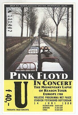 Rare PINK FLOYD 6/14/88 Rotterdam Netherlands DELUXE Concert Ticket Stub!