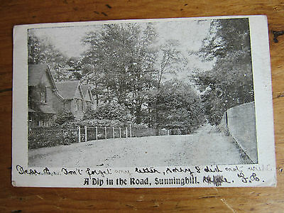 Very Old RP POSTCARD 1904 Dip In Road SUNNINGHILL SURREY Posted