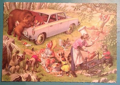 Mainzer cats camping,vintage postcard. Printed in Begium. 2610 / 2