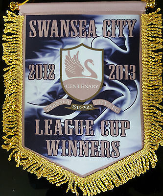 swansea city league cup winners 14x12in colour pennant