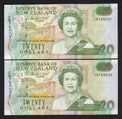 NEW ZEALAND P-179a. (1992-94) 20 Dollars - Brash (Type-11)..  UNC - CONSEC Pair