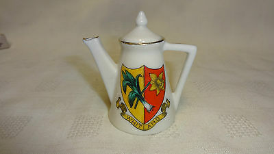 Antique/Vintage Crested Ware China Figure - Teapot - Whitland