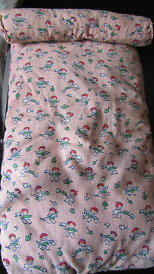 """SWEETEST 1930's ANTIQUE FRENCH DOLLS BED MATTRESS W/BOLSTER CUSHION 15.1/2""""x9"""""""