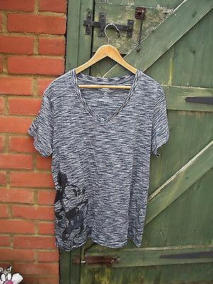 From Walt Disney World Ladies Black Stripy Short Sleeved Mickey Mouse Casual Top