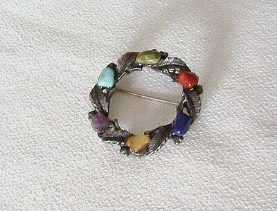 Vintage Pewter And Colourful Agate Garland Design Brooch.