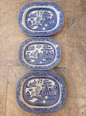 Antique Willow Pattern Blue And White Meat Plates