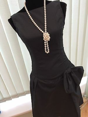 Womens Vintage 1980s Black Taffeta Dress with Bow Size 8/10