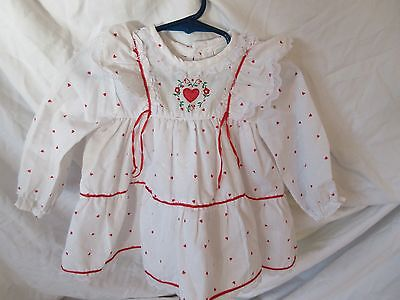 Vintage  Baby Dress White With Red Hearts 6/9