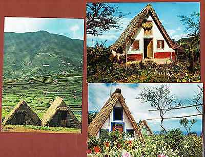 set of 3 postcards MADEIRA island TYPICAL HOUSES Portugal
