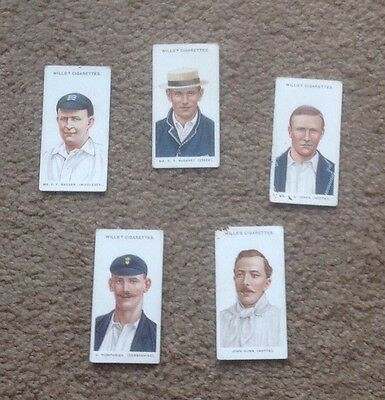 Will's Cigarette Cards Cricketers (Will's) 1908 X 5
