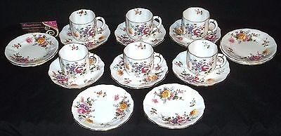 SIX Royal Crown Derby 'DERBY POSIES' Coffee Cups, Saucers and Side Plates