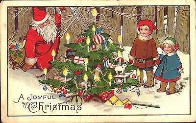 Embossed Postcard Christmas, Santa Claus With Children In The Woods
