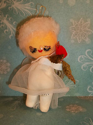 Vintage 1960's Christmas ANGEL Ornament Cloth & Plastic Made in JAPAN C459