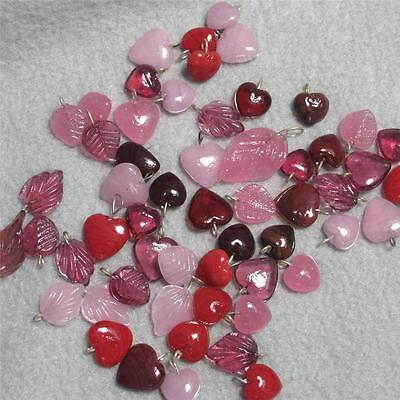 SALE--HUGE LOT of 50+, glass Heart and leaf charms from India
