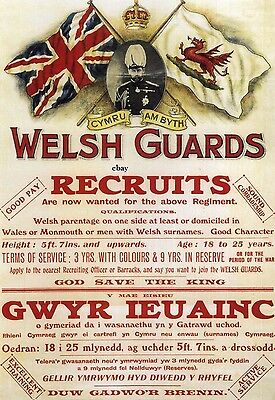 Recruiting Poster British Army Welsh Guards New A4 Print  Wales Monmouth