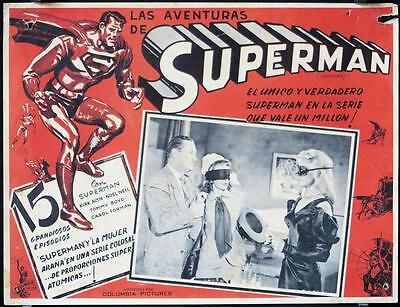 L068  SUPERMAN Mexican Movie Lobby Card '48 special effects image of Kirk Alyn