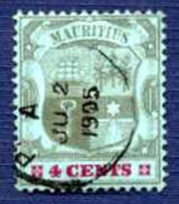 MAURITIUS #100-June 2, 1905-COAT OF ARMS-USED