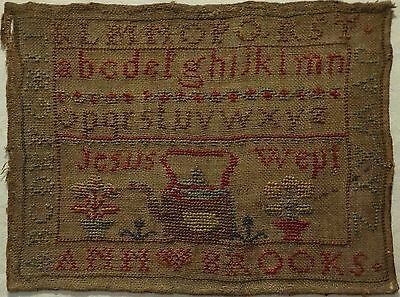 SMALL LATE 19TH CENTURY KETTLE & ALPHABET SAMPLER BY ANN BROOKS c.1870