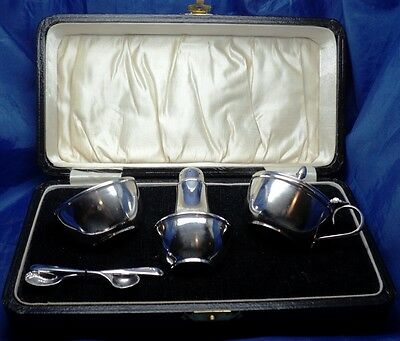 Boxed Solid Silver Patent 325841 Lined Cruet Set By Joseph Gloster B'ham 1932