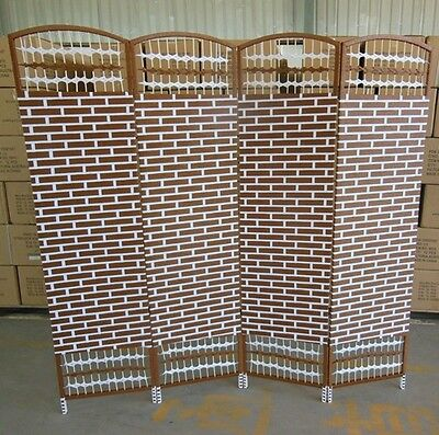 1X Knitted Room Divider 4 Panels Folding Screen - Brick Design