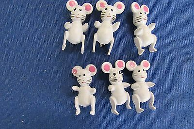14  Pack With  6 Each  84 Vintage Wooden  Miniature White  Mice  Fairy Garden