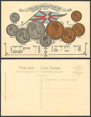 India Vintage Indian Coins Coin Card with Viceroy Flag Rupees Annas Old Postcard