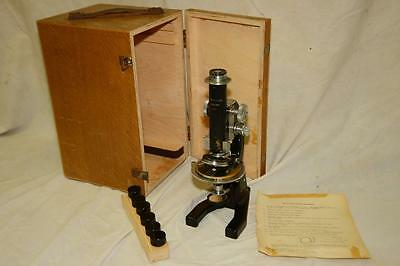 J Swift & Son of London Laboratory Microscope in Wooden Box NO objective lenses
