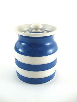 "Vintage TG Green Cornishware Blue & White  Spice Jar  Green Shield   3.5"" High"